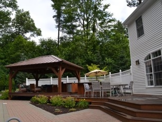 Overhead Structure covering outdoor kitchen, mahagony deck, Saratoga Springs