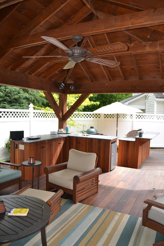 Custom overhead structure with outdoor kitchen, Big Green Egg, Saratoga Springs