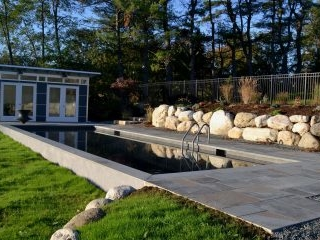 Boulder wall , pool patio, after market shed as cabana - Voorheesville