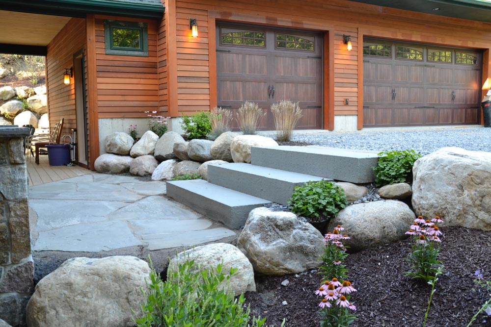 Bluestone Slab stairs, irregular bluestone walkway, natural rock retaining walls Glen Lake