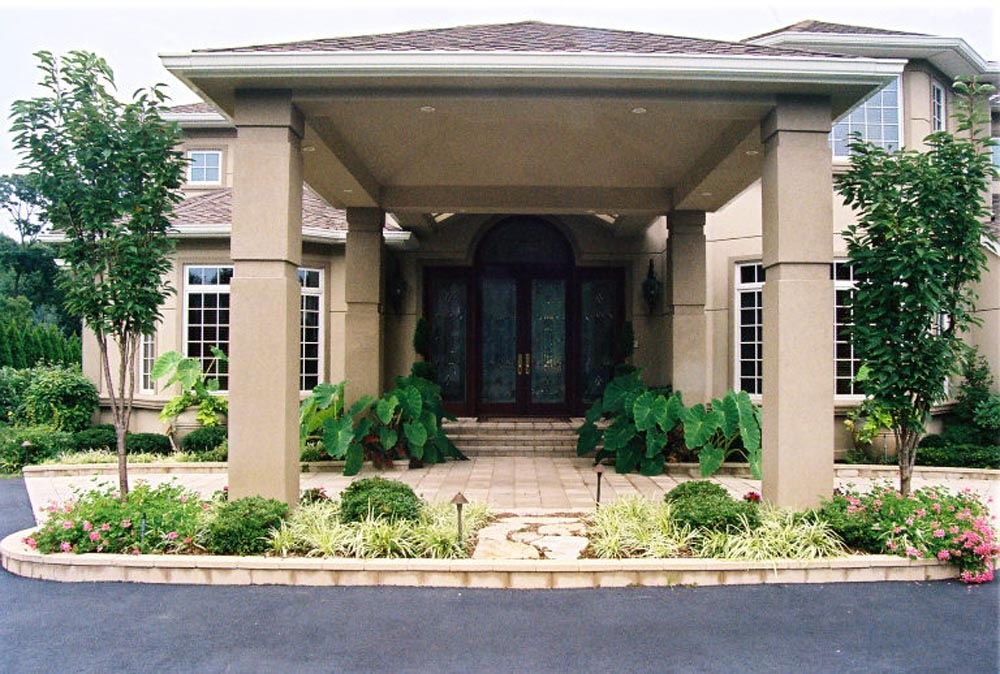 Covered Front Entryway with accent Elephant Ears