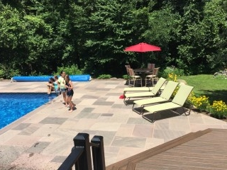 Large paver pool patio, trex deck, custom iron railings, Ballston Spa