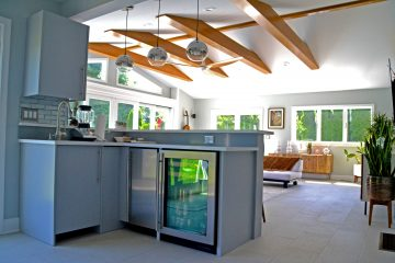 Kitchen bar space in Great room addition with timber beams - Glenmont