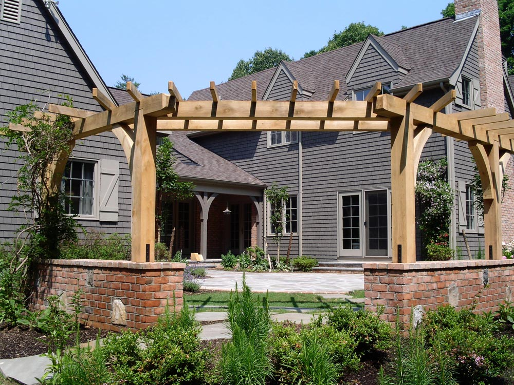 Brick foundation Timber pergola structure, bluestone patio