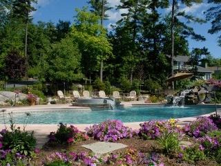 Poolscapes involve patios, plants, fences, furniture - stunning combination in Lake George