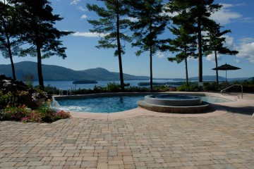 Pool, hot tub and patio overlooking Lake George