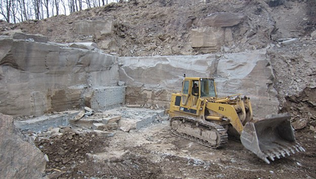 Bluestone being removed from a quarry