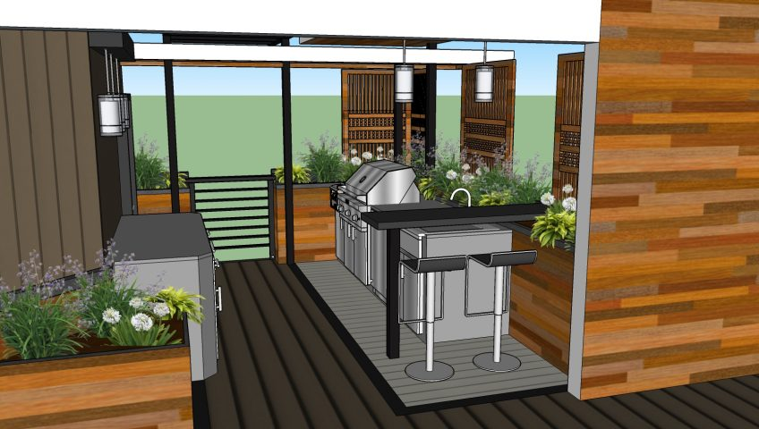 Custom made stainless steel cabinets, overhead structure and grill